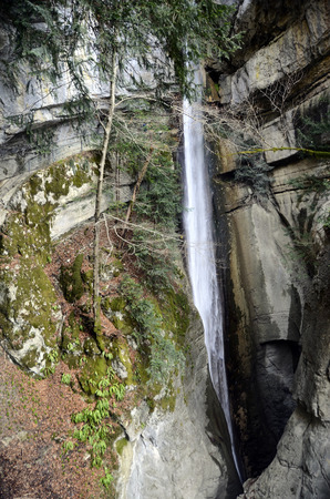 Waterfall Angon on Annecy lake, Savoy Stock Photo