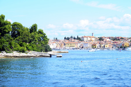 Rovinj village, harbour and sea in Croatia