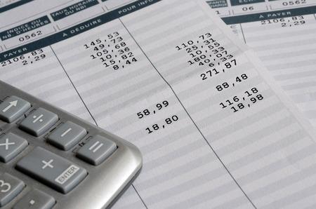Euro-Gehaltsabrechnung und Taschenrechner, Abschluss oben für Gehaltsabrechnung oder Gehaltshintergrund, französische Erwähnung Netto zum zu zahlen Standard-Bild