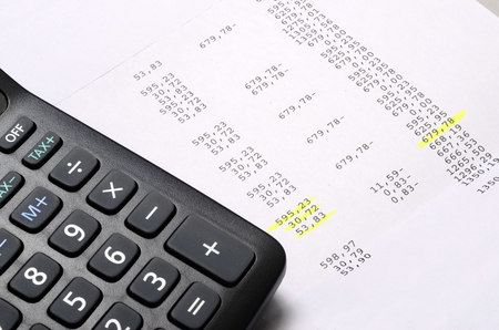 Euro Pay slip and calculator, close up for payroll or salary background, french mention Net to pay 스톡 콘텐츠