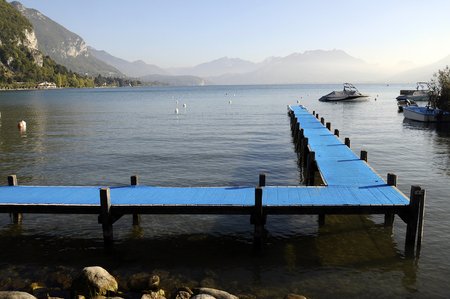 Annecy Lake and Blue Pontoon Landscape, France