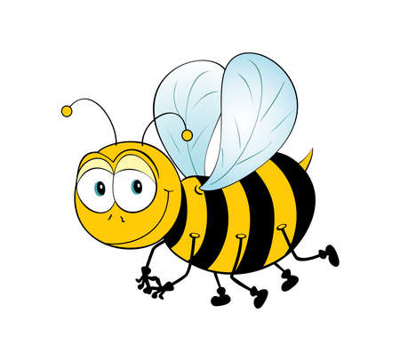 cute bee: Very cute, shy and smiling bee.