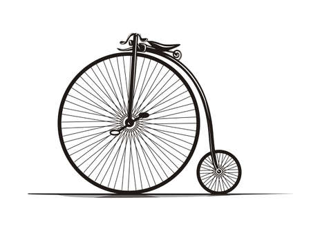 Graphical, black & white vintage bicycle�s illustration.