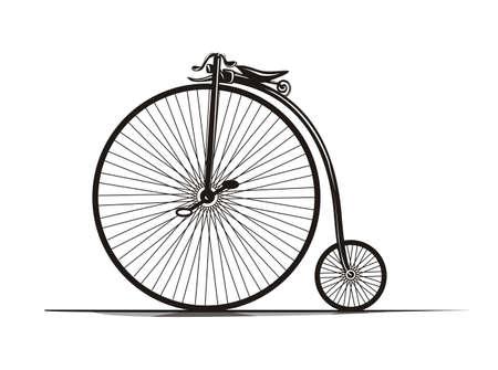 Graphiques, en noir et blanc millésime vélos illustration. Vecteurs