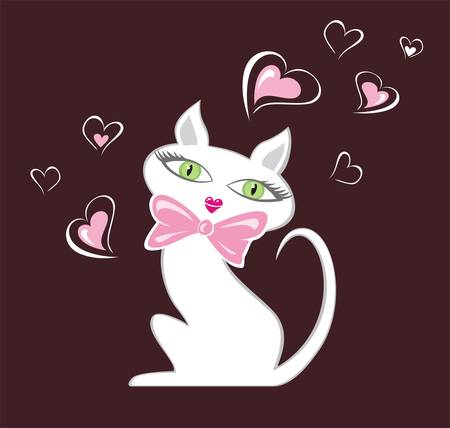 White cartoon female cat illustration.