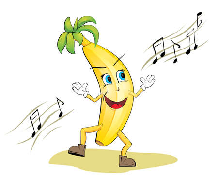 Vector illustration of very cute banana. Banana is dancing and singing.