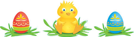 Cute, little chick with two colored Easter eggs. Vector