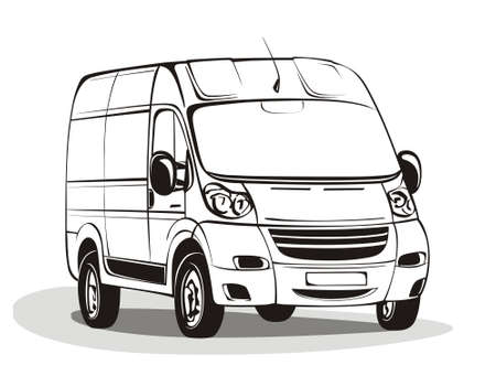Black&white linear vector minibus illustration. Vector