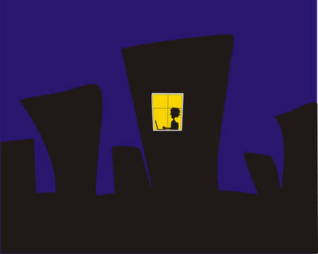 The City at the Night with Yellow Window