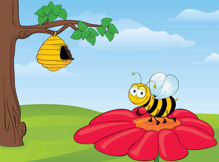 Illustration of a Very cute bee sitting on the big flower.