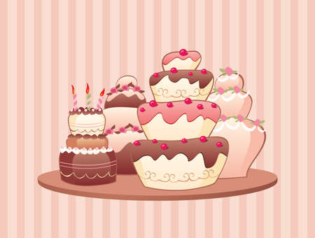 Vector illustration of the big tier cakes. Stock Vector - 4669509