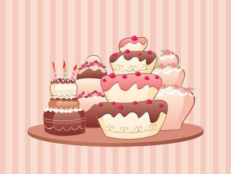 tier: Vector illustration of the big tier cakes. Illustration