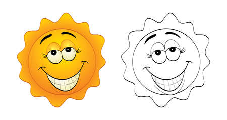 Vector illustration of a cartoon, funny and smiling sun.  Vector