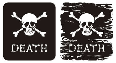 Vector illustration of skull, crossbones and word death. Vector
