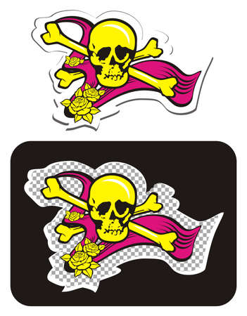 Skull with Crossbones and Roses Illustration