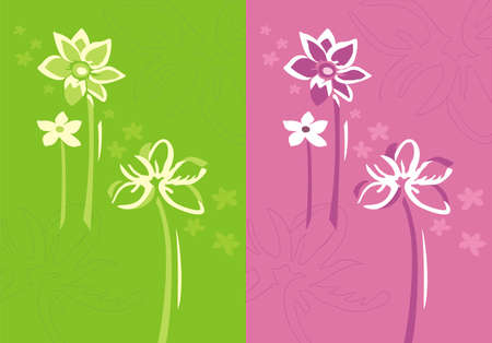 Floral background in two color variations with abstract flower silhouettes.