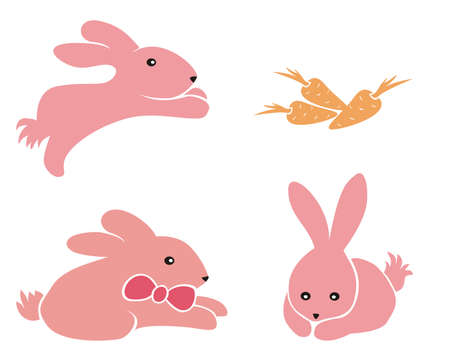 Three very cute, pink bunnies and carrots. Illustration