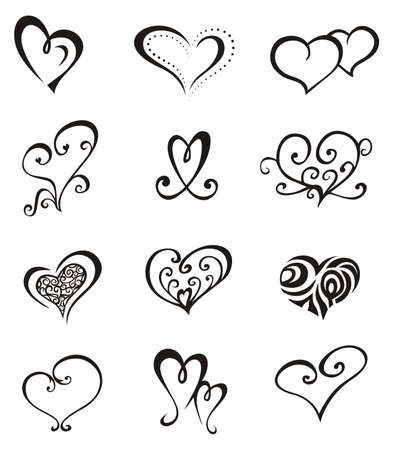 Heart shaped vector decorative elements for design or tattoo. Illustration