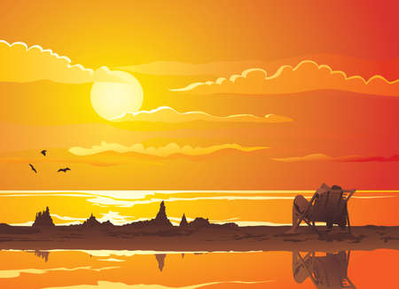 Beautiful tropical beach sunset with silhouettes of sand castles and relaxing man.