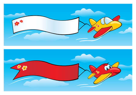 biplane:  Airplanes with Banners Illustration