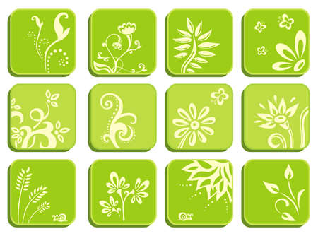 Set of green icons with Floral Design Elements