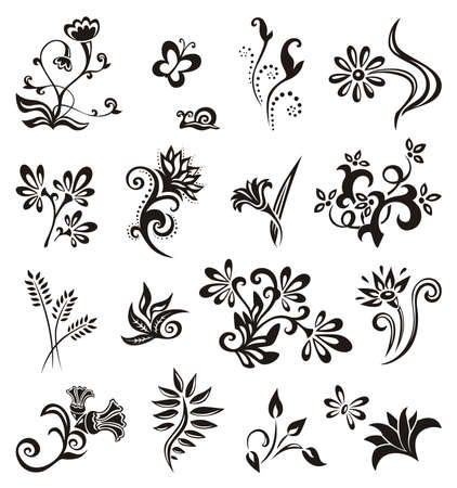 tatuaje mariposa: Conjunto de elementos de dise�o floral