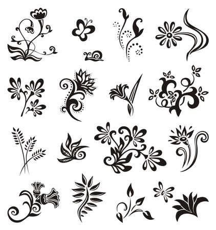 farfalla tatuaggio: Insieme di Floral Design Elements