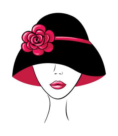 Vrouw in een hoed met bloem Vector Illustratie