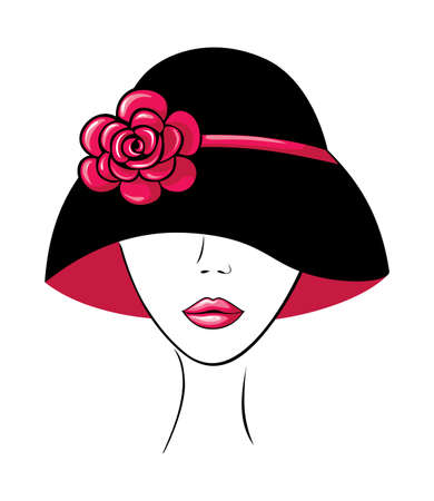 Woman in a Hat with Flower Vector