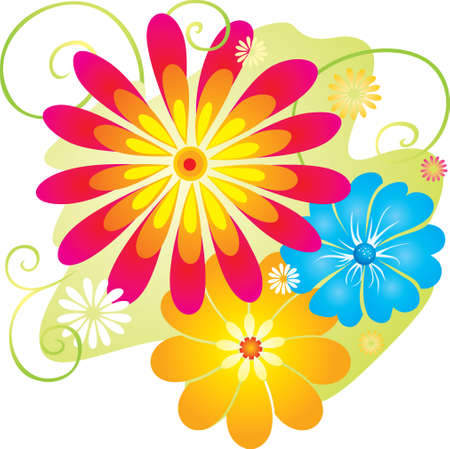 Fantasy Summer Flowers Illustration