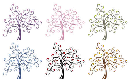 Colored Magic Trees Illustration