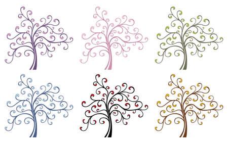 Colored Magic Trees Illustration