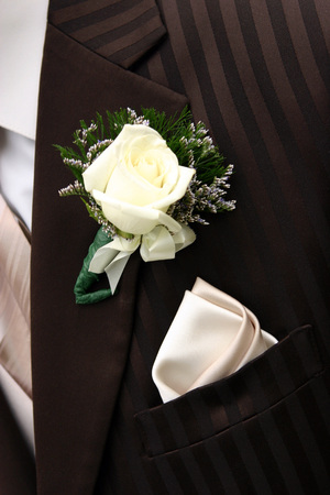 hankerchief: A closeup of a dark brown tuxedo; lapel area.  Brown tuxes are all the rage in the wedding industry right now.