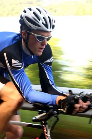 road bike: A fast image of a cyclist on a time trialtriathalon road bike