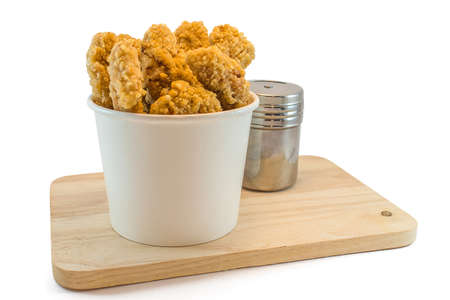 Chicken nuggets in paper boxes on white background Stock Photo