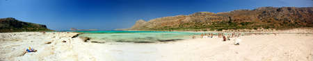 sun bathers: The beach of Balos in Crete.