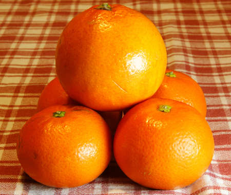 Pyramid of oranges and mandarins into a background with plaid tablecloth. photo