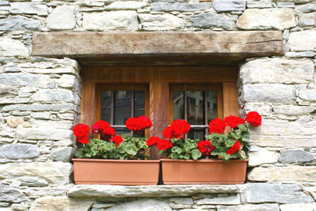 A typical chalet in the Italian Alps, with flowers and wooden facade.