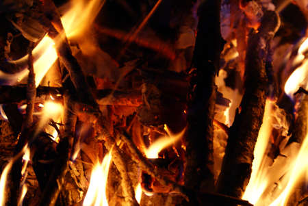 wood burner: Wood burning and create flames, heat and light. Stock Photo