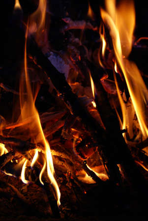 Wood burning and create flames, heat and light. photo