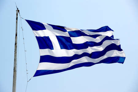 The greek flag in acropolis of Athens. photo
