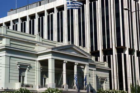 architrave: Modern and ancient buildings in Athens. Stock Photo