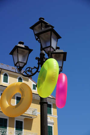 Colorful Bouncy On The Street Of A Sea Town