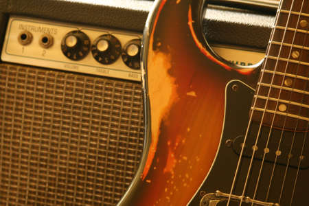 1970's strat and an old vacuum tube amplifier Stock Photo - 5250770