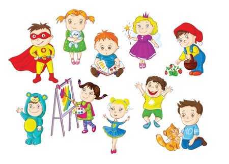 Smiling and happy toddlers doing different activities Vector