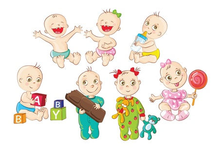 Cute babies having fun Vector