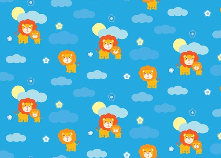 Baby lion seamless pattern Vector