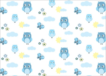 Baby boy owl and a butterfly seamless pattern Vector