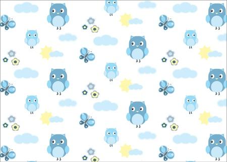 bebes: El bebé búho y un patrón transparente mariposa Vectores