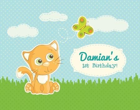 Verjaardag wenskaart met kat illustratie